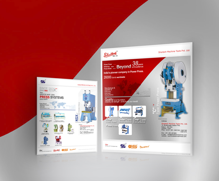 Product flyer shailesh machine tools for Brochure design tools